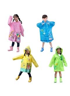 Mashotrend Hayvan Figürlü Kapüşonlu Çocuk Yağmurluk - Çocuk Yağmurluğu - Unisex Yağmurluk